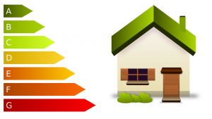 Energy Performance Certificate rating scale and house