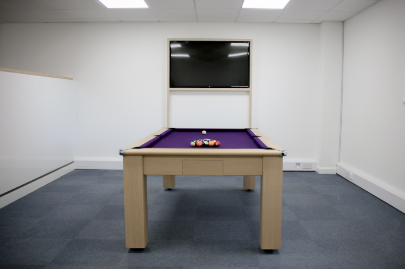 Aldrock's pool table and television