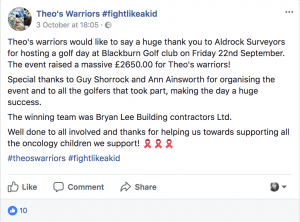 Theo's Warrior's charity Facebook page, mentions Aldrock's charity golf day!