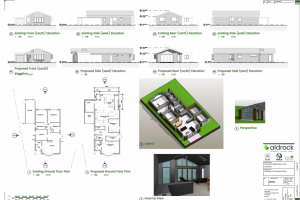 Bungalow extension blueprints
