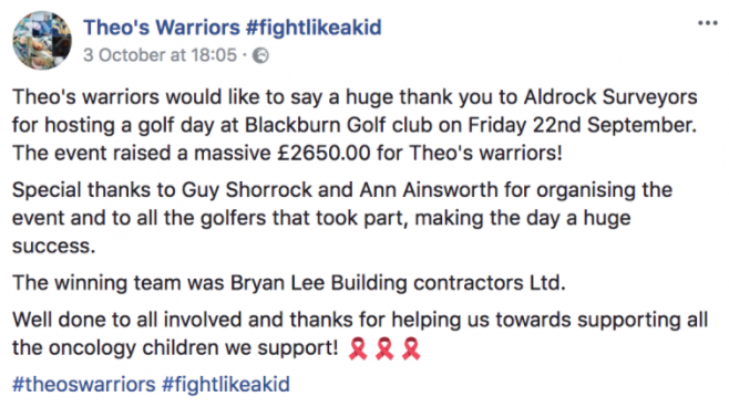 Facebook post from Theo's Warriors Facebook page saying thank-you to Aldrock for hosting the charity golf day and for the money they helped to raise.